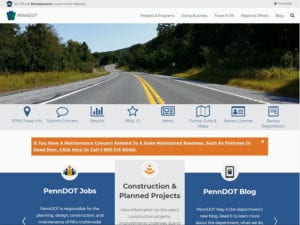 Screenshot of Penndot website